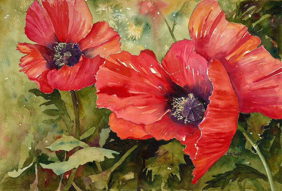 Poppies Painting - Hot Poppers by Renee Chastant