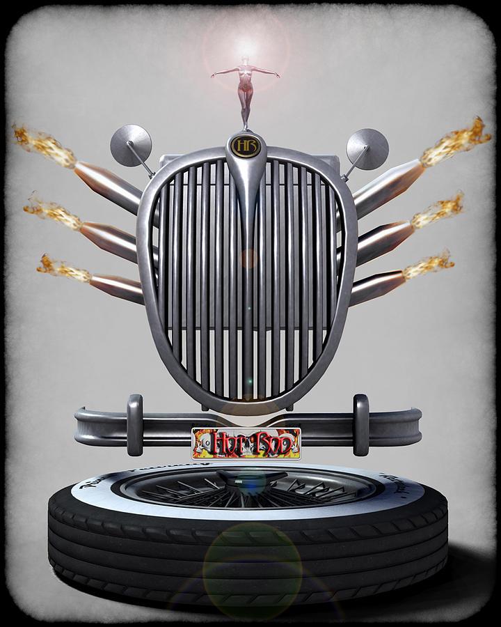 Car Digital Art - Hot Rod Crest by Frederico Borges