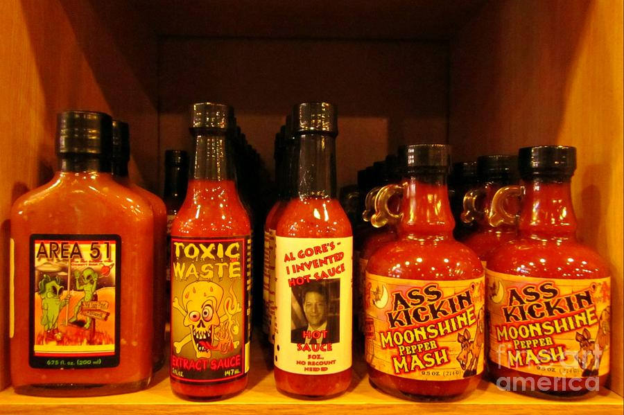 Hot Sauce Display Shelf One Photograph