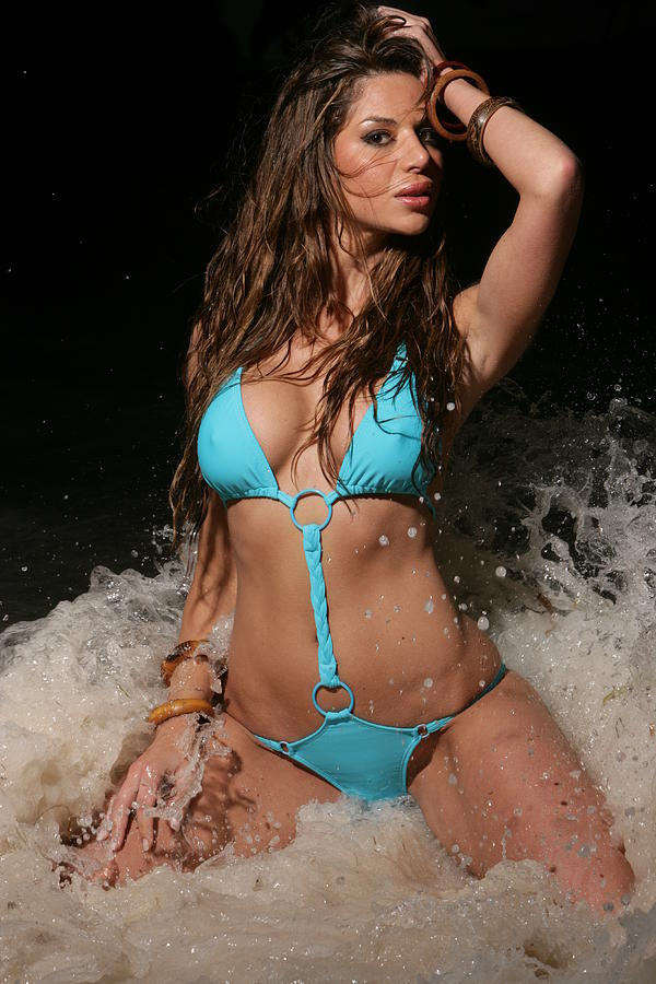 Bikini model wet