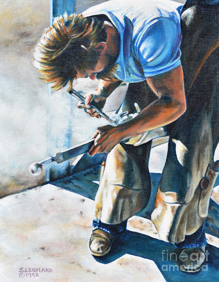 Farrier Painting - Hot Shoe by Suzanne Leonard