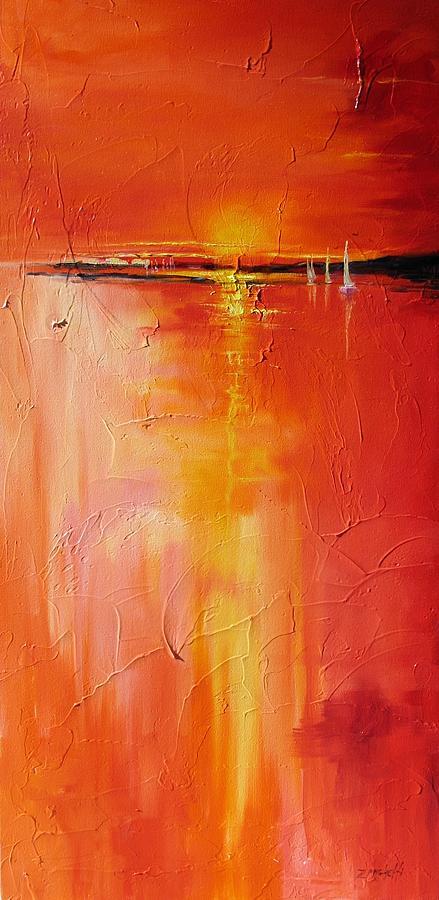 Sunset Painting - Hot Shot by Laura Lee Zanghetti