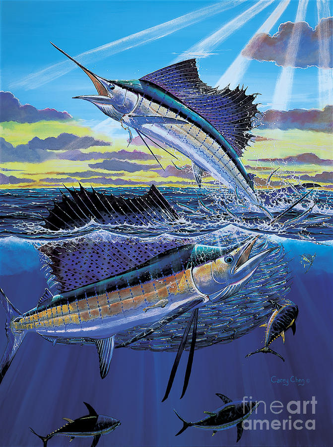 Sailfish Painting - Hot Spot Off0073 by Carey Chen