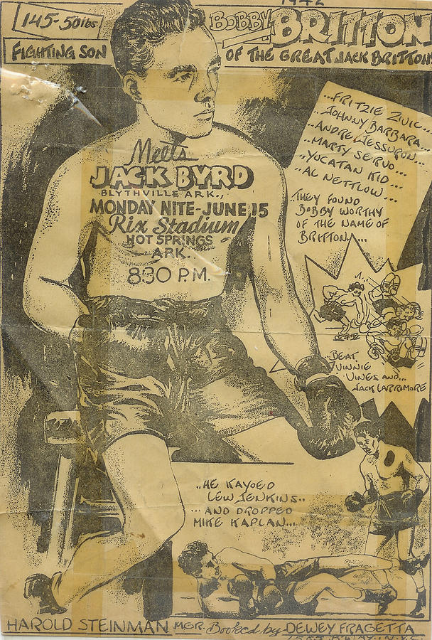 Boxing Flyer Drawing - Hot Springs Arkansas 1940s Days Of Past by Gerald Griffin