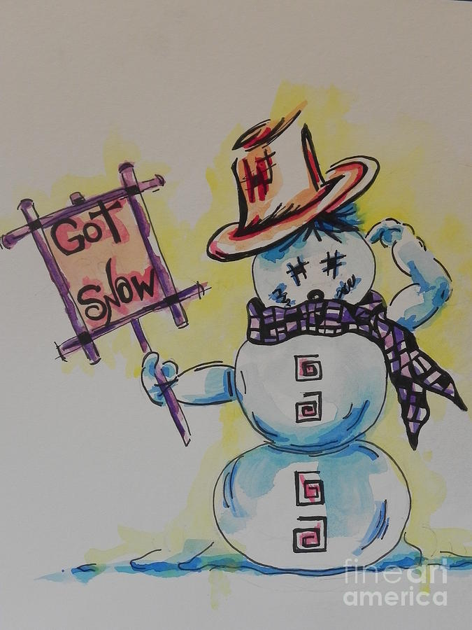 Watercolor And Ink Painting Painting - Hot Stuff.... Got Snow by Chrisann Ellis