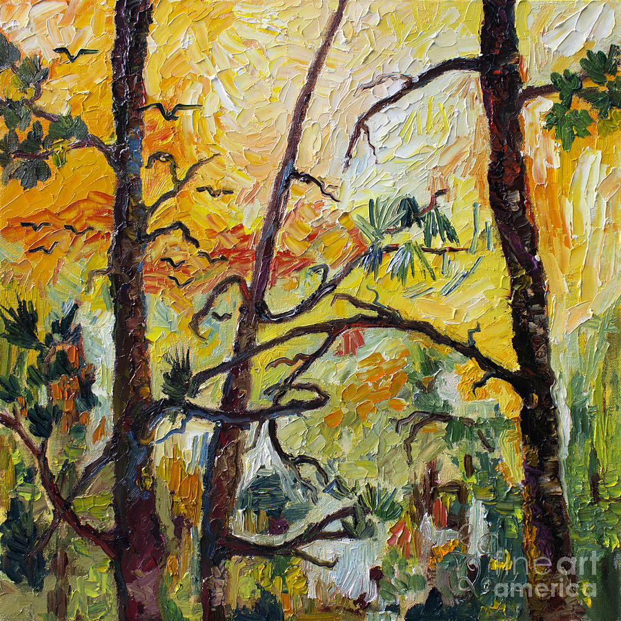 Hot Summer Sunset Through The Pines Painting by Ginette Callaway