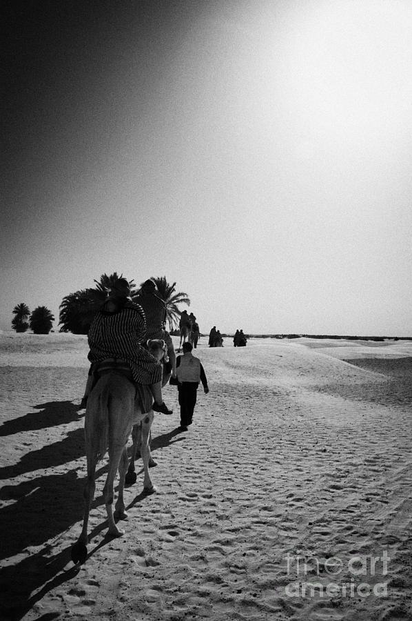 Tunisia Photograph - hot sun beating down on tourists taking a camel ride into the sahara desert at Douz Tunisia by Joe Fox