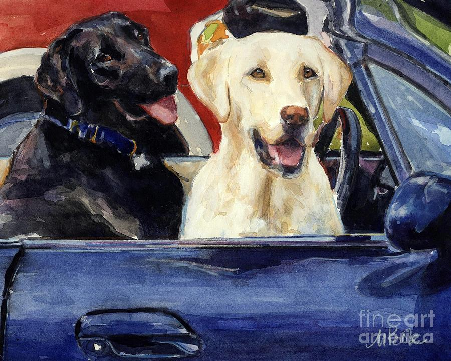 Yellow Lab Painting - Hot Wheels by Molly Poole
