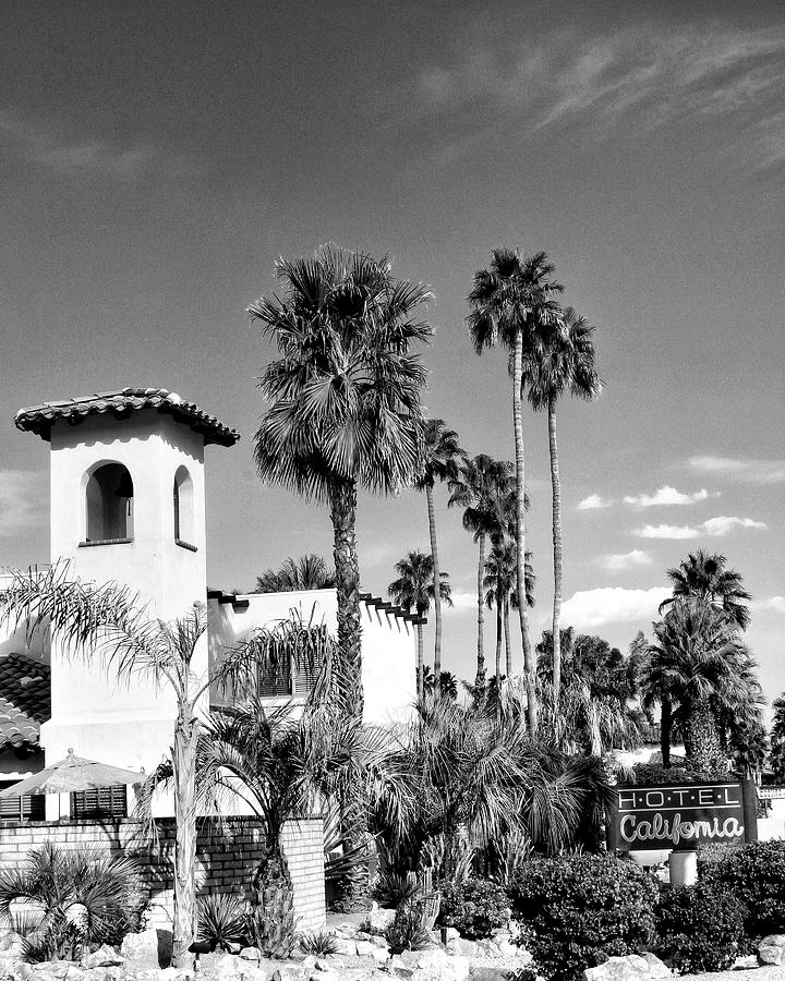 Palm Springs Photograph - HOTEL CALIFORNIA  BW Palm Springs  by William Dey