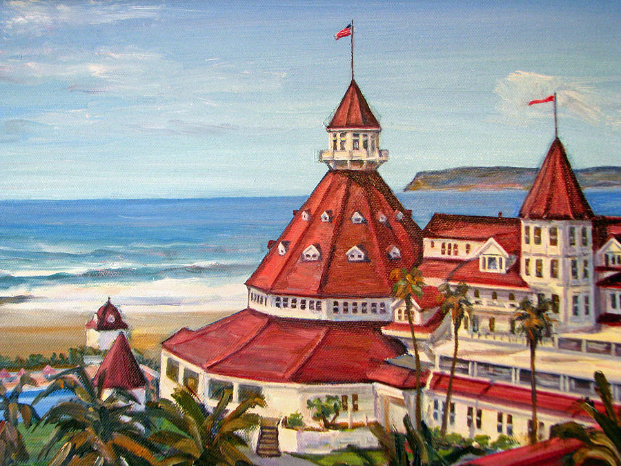 Hotel Del Coronado From Above Painting By Robert Gerdes