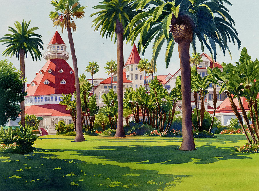 Landscape Painting - Hotel Del Coronado by Mary Helmreich
