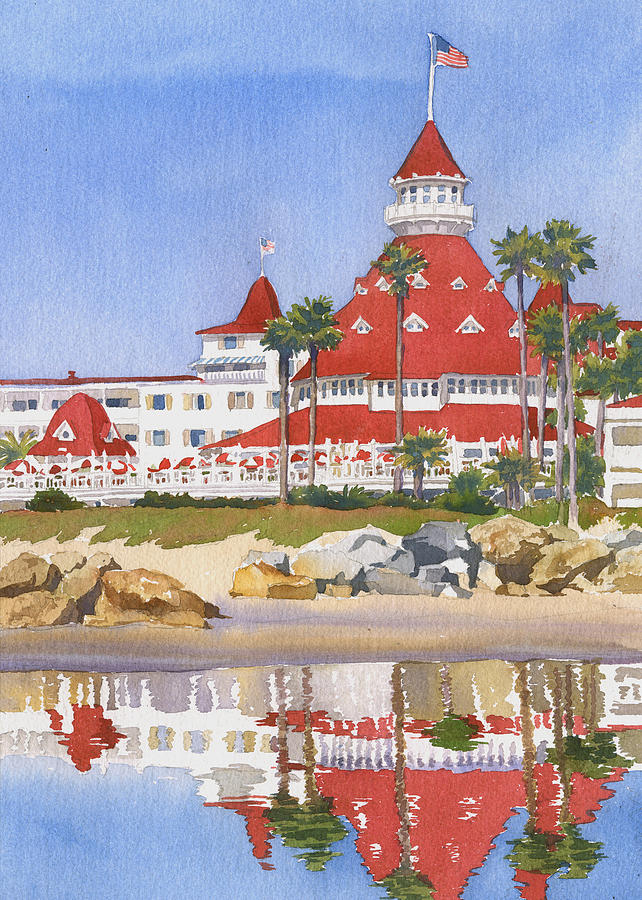 Coronado Painting - Hotel Del Coronado Reflected by Mary Helmreich