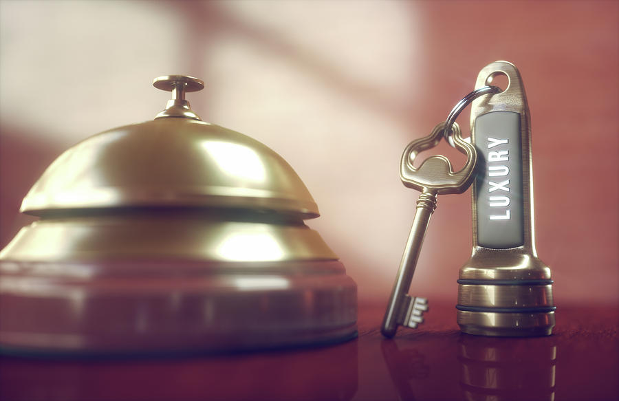 Artwork Photograph - Hotel Key And Bell by Ktsdesign/science Photo Library
