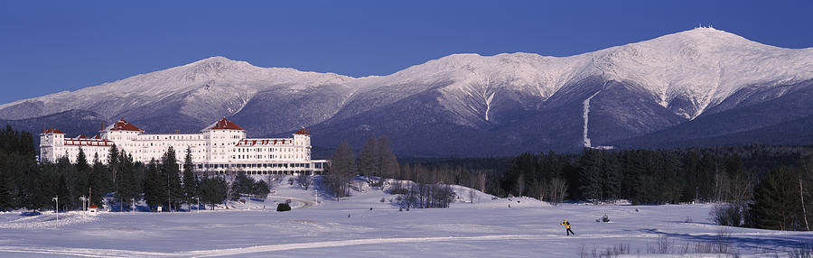 Color Image Photograph - Hotel Near Snow Covered Mountains, Mt by Panoramic Images