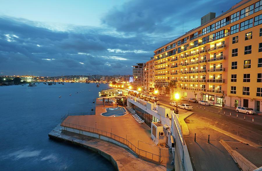 Hotels Along Sliema At Dusk Photograph by Allan Baxter