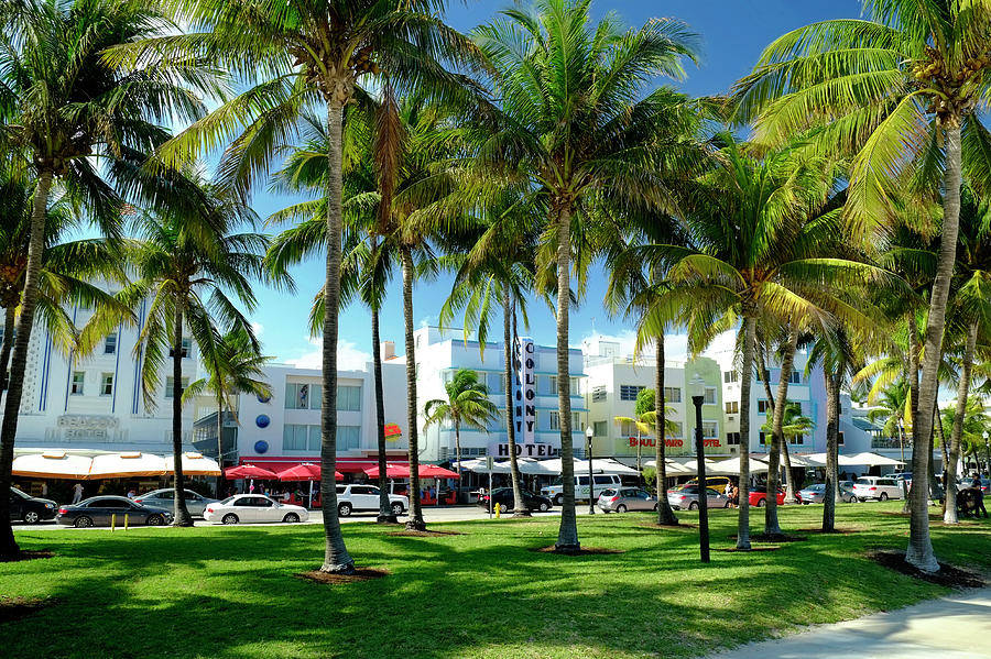 Hotels At Ocean Drive, South Beach Photograph by Travelpix Ltd