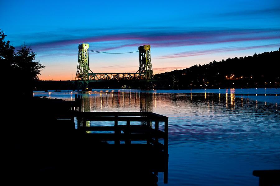 Upper Peninsula Photograph - Houghton Bridge Sunset by Steven Dunn