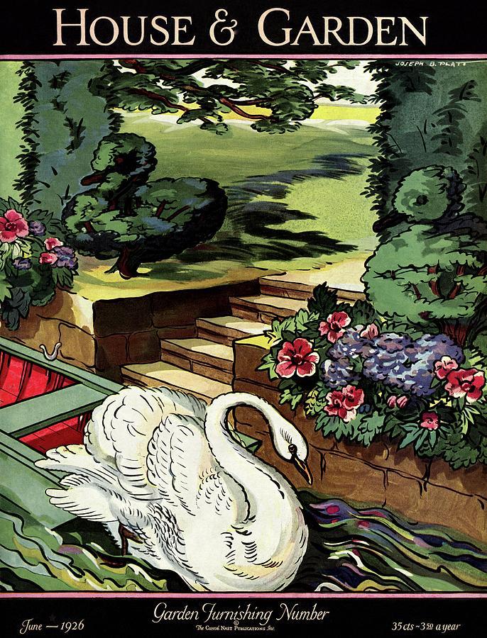 House & Garden Cover Illustration Of A Swan Photograph by Joseph B. Platt