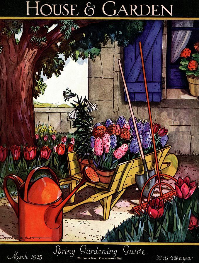 House & Garden Cover Illustration Of Garden Scene Photograph by Joseph B. Platt