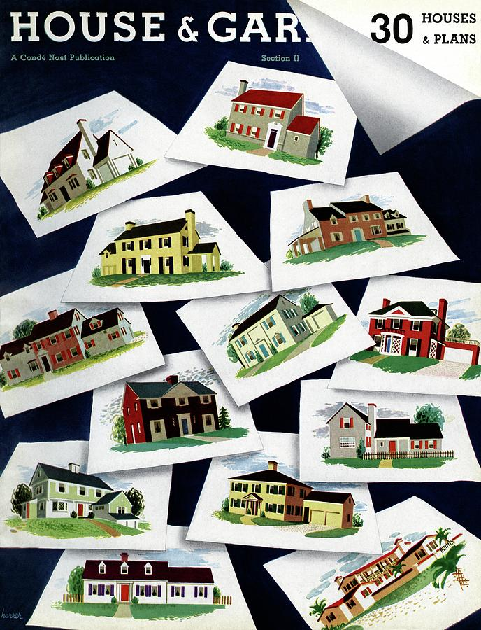 House & Garden Cover Illustration Of Various Homes Photograph by Robert Harrer