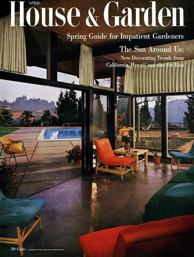 House And Garden Featuring A Living Room Photograph by Julius Shulman