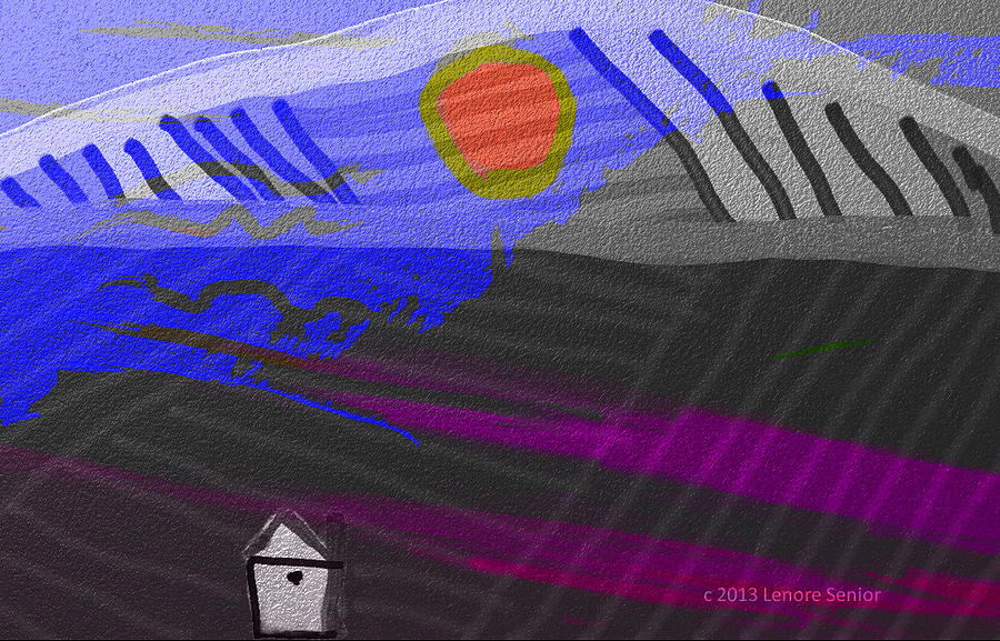 Expressive Digital Art - House At The Bottom Of The Hill by Lenore Senior