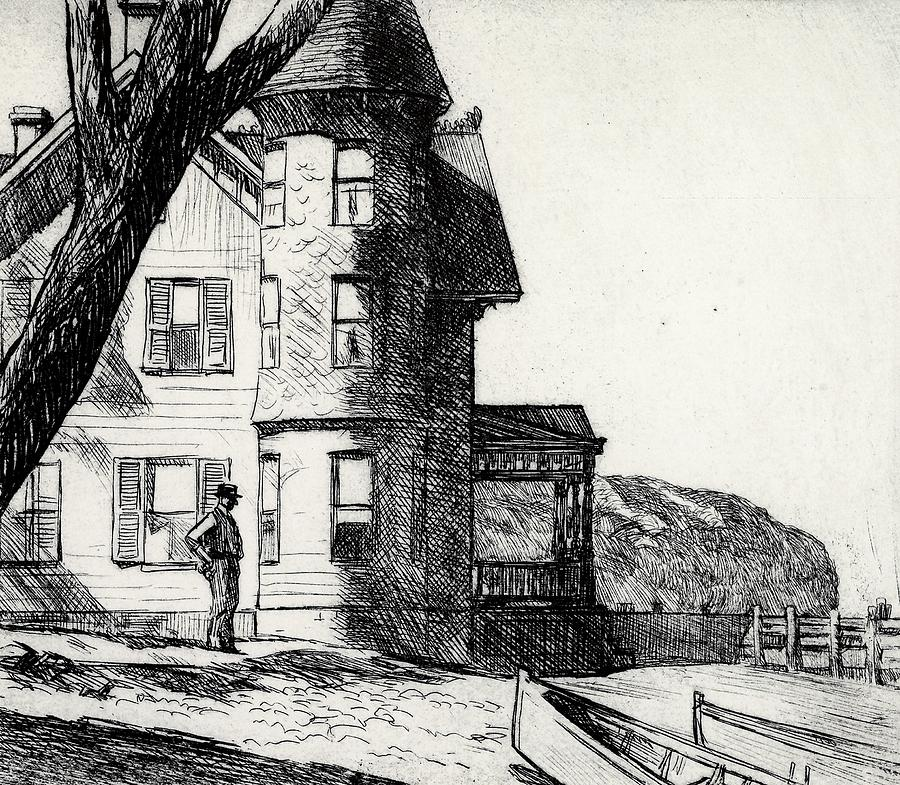 Edward Hopper Drawing - House By A River by Edward Hopper
