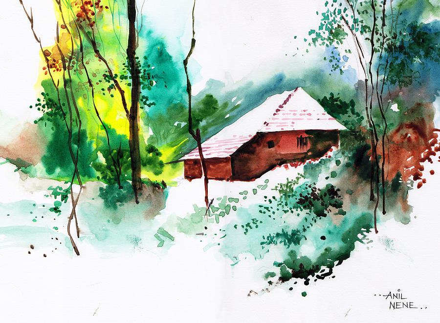 Nature Painting - House In Greens 1 by Anil Nene