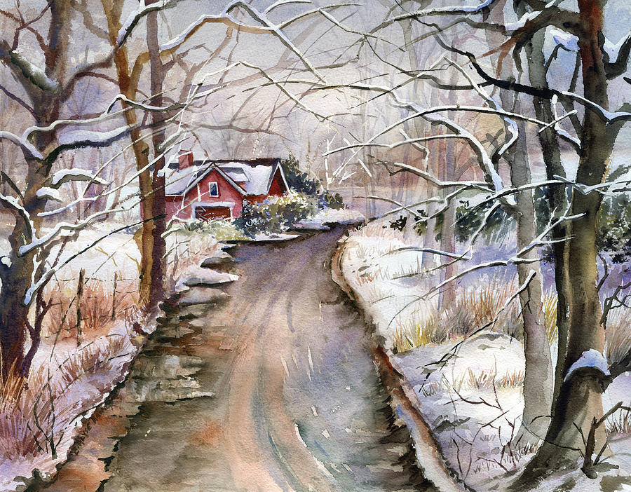 Landscape Painting - House In Snow by Beth Kantor