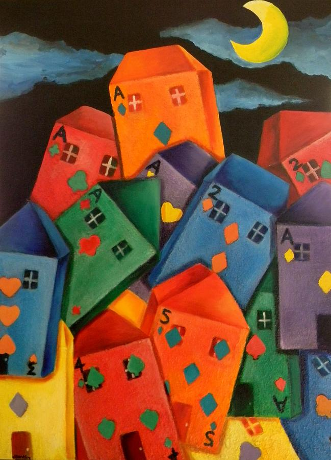Cards Painting - House Of Cards by Lisa Bentley