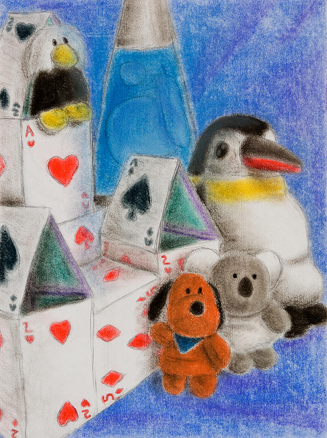 House Drawing - House Of Cards Still Life by Jeanette K
