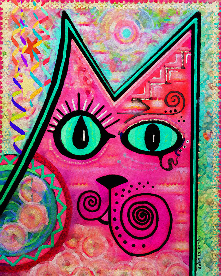 Moon Stumpp Painting - House Of Cats Series - Catty by Moon Stumpp