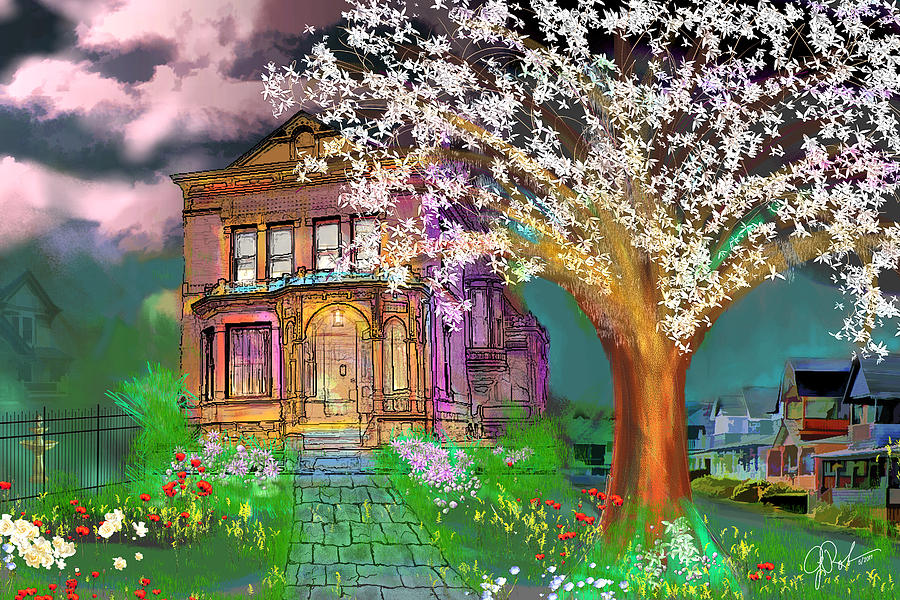 Landscape Painting - House On Milbert Street by Gerry Robins