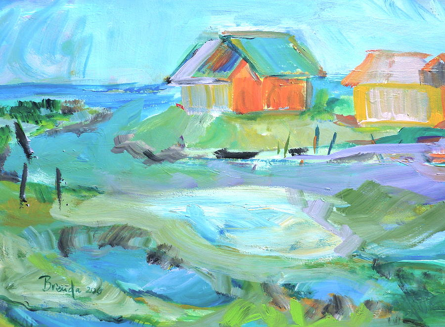 Abstract Painting - Inlet At Salt Ponds  by Brenda Ruark