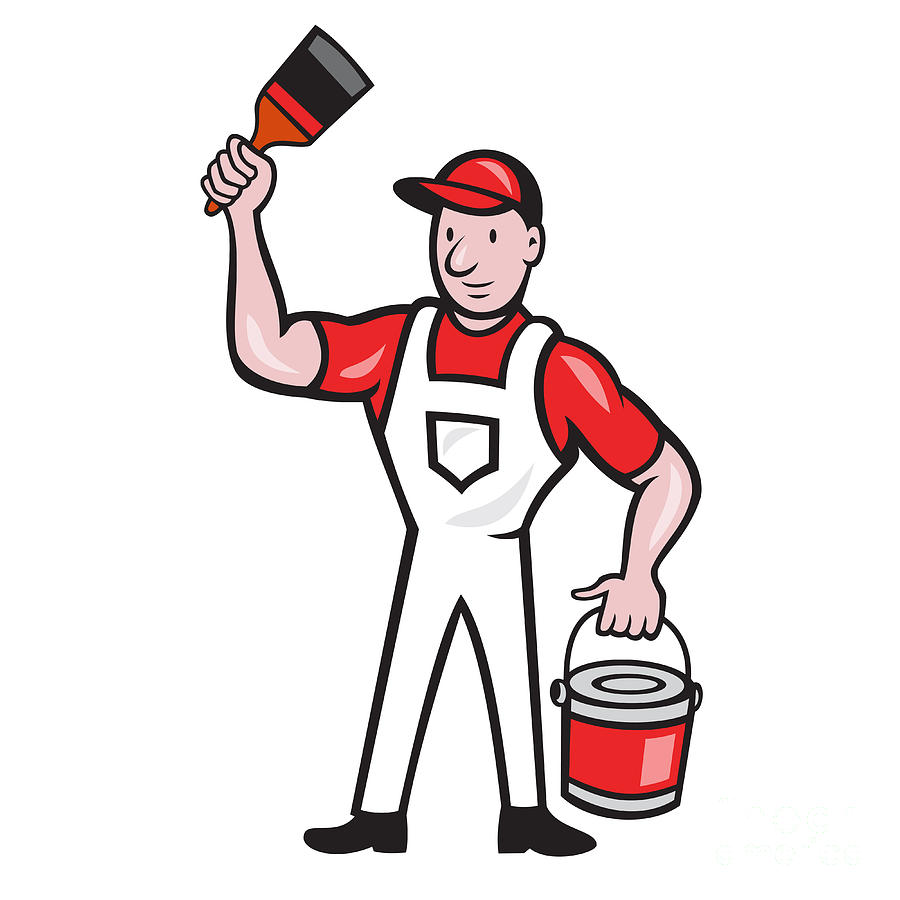 House Painter Holding Paint Can Paintbrush Cartoon Digital
