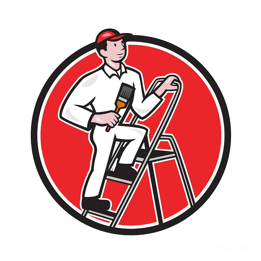 Painter Digital Art - House Painter Paintbrush On Ladder Cartoon by Aloysius Patrimonio