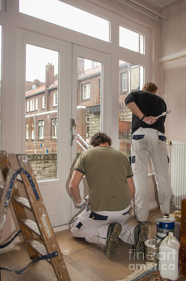 Brush Photograph - House Painters At Work by Patricia Hofmeester