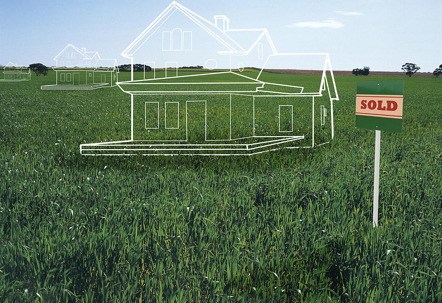 House Plans On Lawn By sold Sign (digital Composite) Drawing by Rupert King