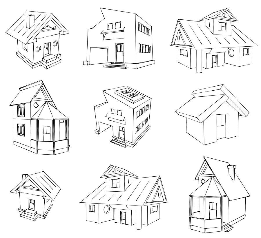 House Digital Art - House Sketch Set by Ioan Panaite