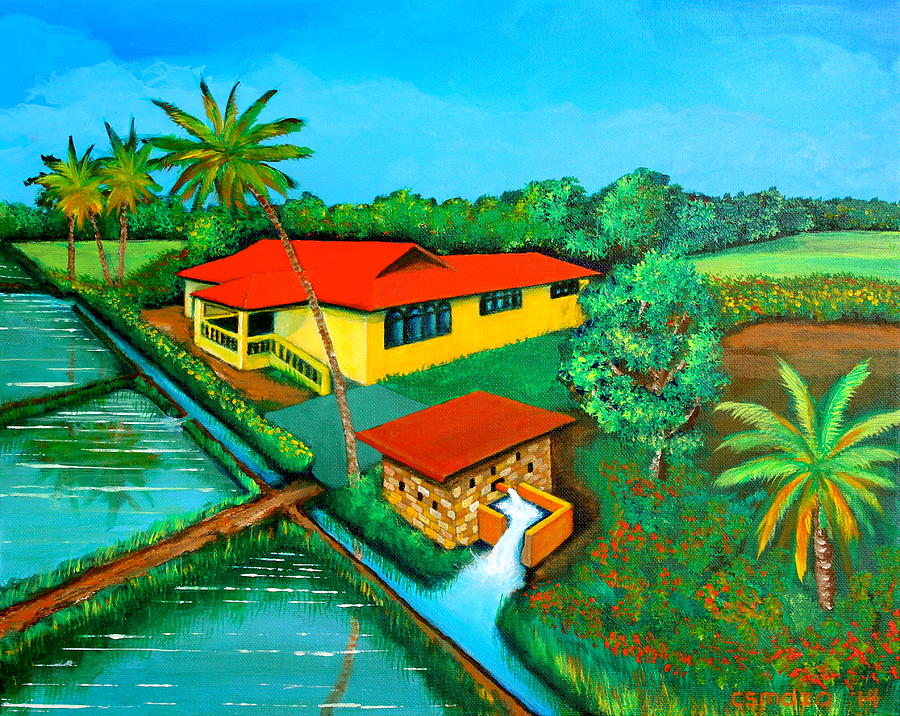 House With A Water Pump Painting