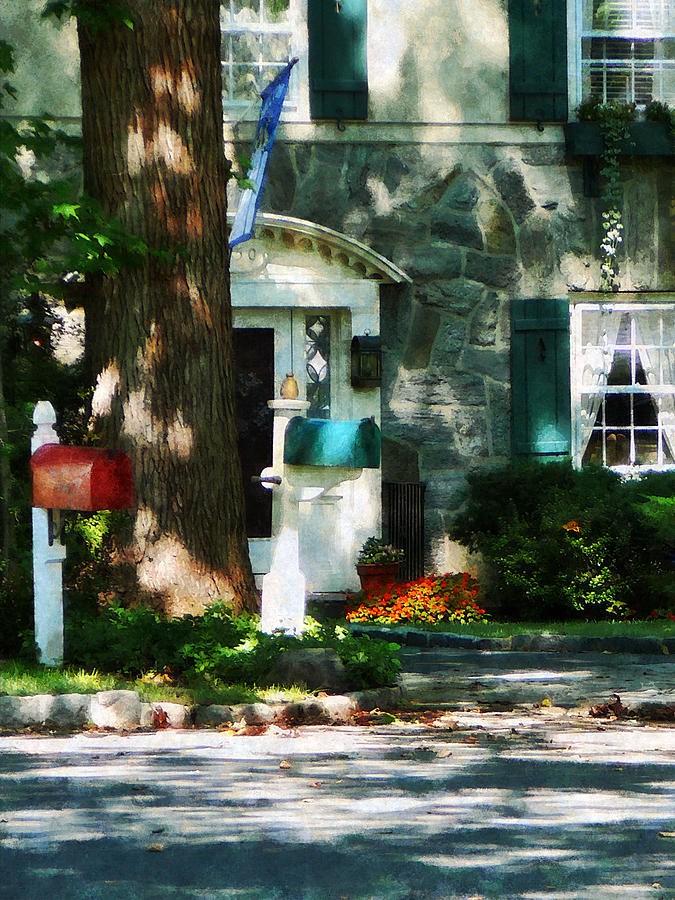 Dappled Sunlight Photograph - House With Turquoise Shutters by Susan Savad