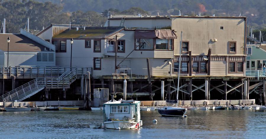 Wharf Photograph - Houseboat In Monterey Harbor by Elery Oxford