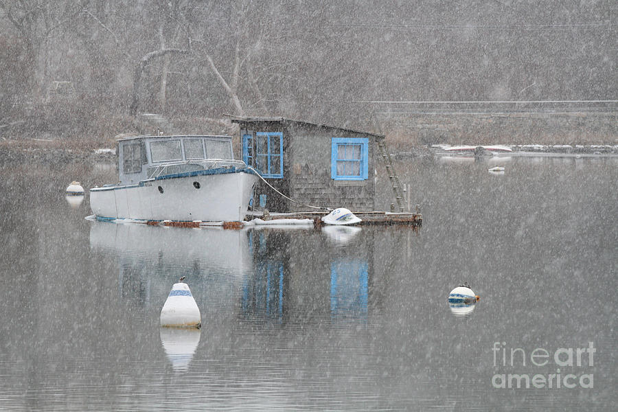 houseboat in snow 012813 by Gene  Marchand