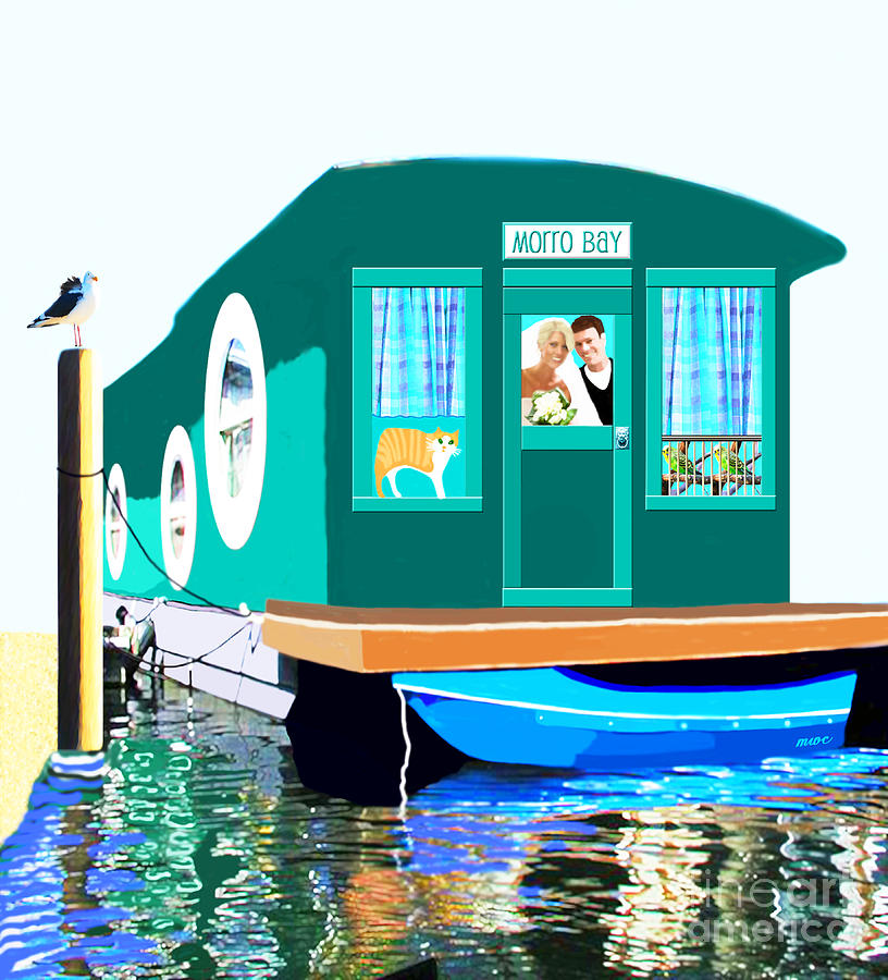 Boat Painting - Houseboat by Marian Cates