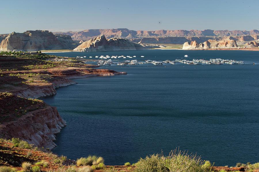 Horizontal Photograph - Houseboats At Marina At Lake Powell by Panoramic Images