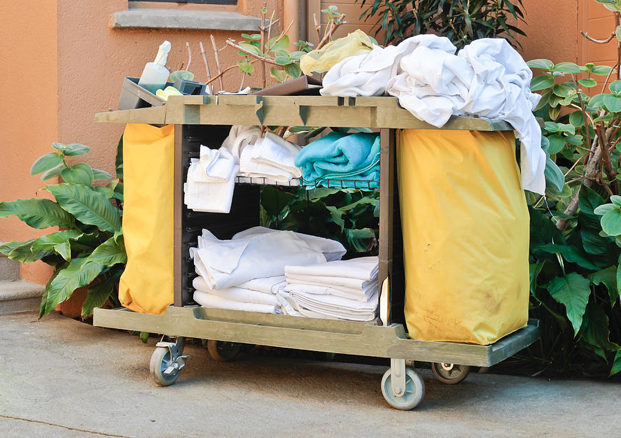 Bed Photograph - Housekeeping Trolley by Tom Gowanlock