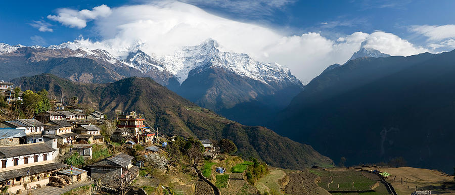 Color Image Photograph - Houses In A Town On A Hill, Ghandruk by Panoramic Images