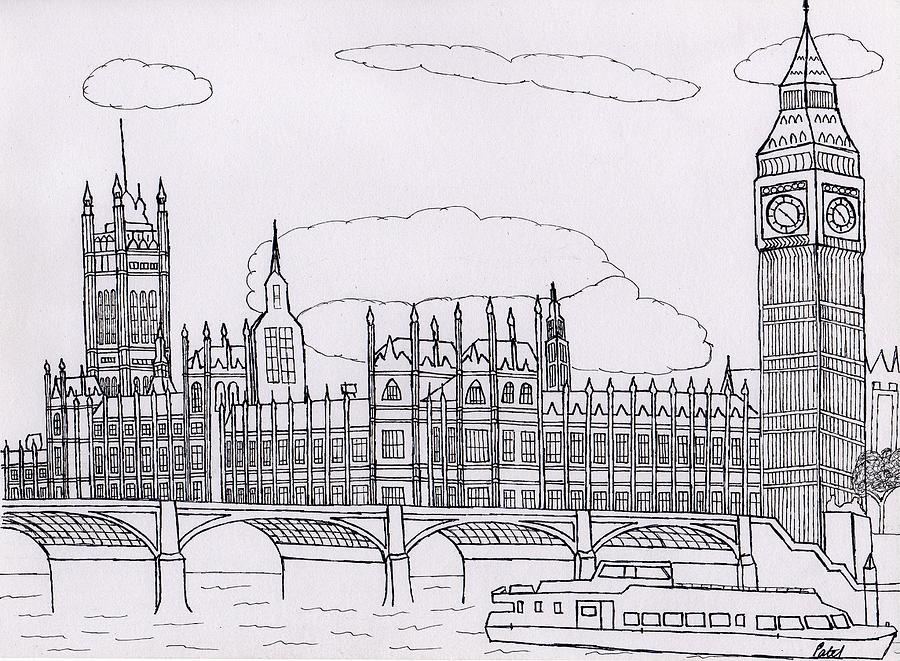 Houses Of Parliament Drawing - Houses Of Parliament by Bav Patel