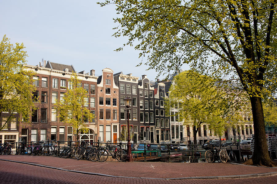 Amsterdam Photograph - Houses On Singel Canal In Amsterdam by Artur Bogacki