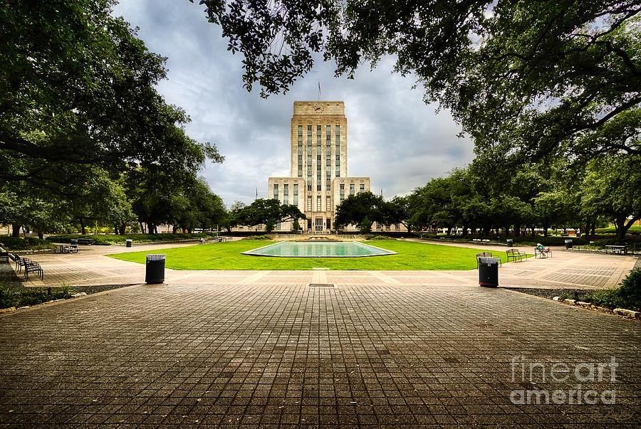 Architecture Photograph - Houston City Hall On A Weekend Morning by Dee Zunker